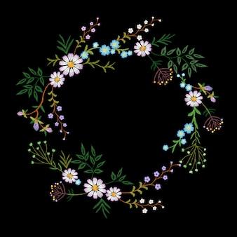 Ghirlanda di fiori ricamati vintage. moda elegante delicata