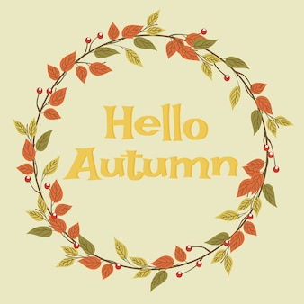 Ghirlanda di foglie autunnali e ciao autunno.
