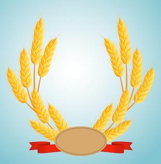 Ghirlanda di grano con copia spazio per il testo