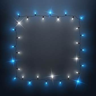 Ghirlanda di luci a led lucenti ghirlanda, disegno di sfondo, natale, capodanno
