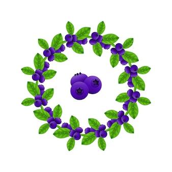 Ghirlanda di mirtilli / cornice con fiocco blu. progetto grafico per poster, cartoline, striscioni, pla