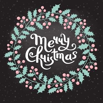 Ghirlanda di natale di agrifoglio con la scritta merry christmas