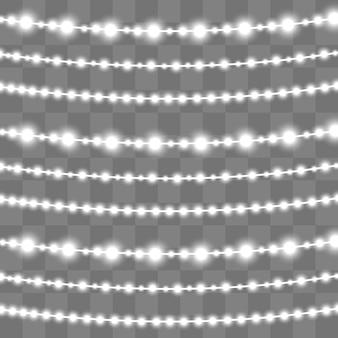 Ghirlanda di natale incandescente con luci. lampada al neon a led.