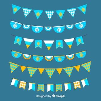Ghirlanda di oktoberfest piatta collezione su tonalità blu