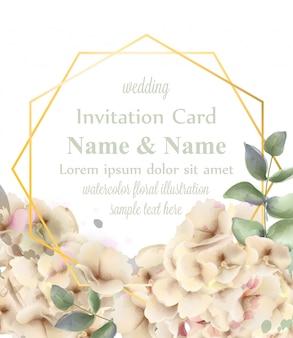 Ghirlanda dorata dell'acquerello dei fiori delicati dell'ortensia