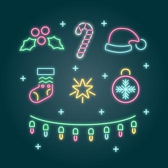 Ghirlanda e accessori in neon per natale
