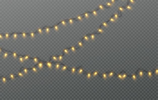Ghirlanda elettrica di natale di lampadine su uno sfondo trasparente. illustrazione
