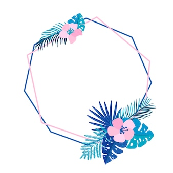 Ghirlanda estiva geometrica con fiore di palma tropicale e posto per il testo. vettore astratto erba piatta