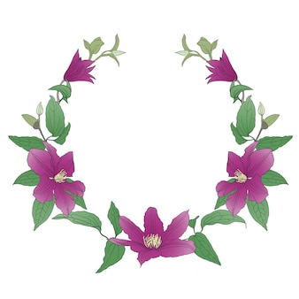 Ghirlanda floreale con fiori di clematide.