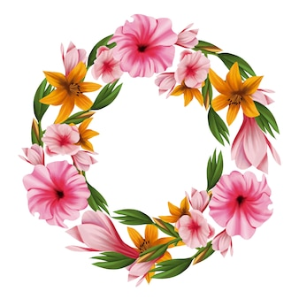 Ghirlanda floreale lussureggiante in stile acquerello