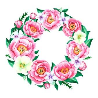 Ghirlanda floreale lussureggiante nel disegno ad acquerello