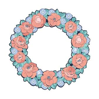 Ghirlanda floreale. ornamento con fiori e foglie in un cerchio