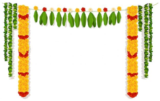 Ghirlanda indiana di fiori e foglie.