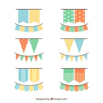 Ghirlande di compleanno ragazze in design piatto
