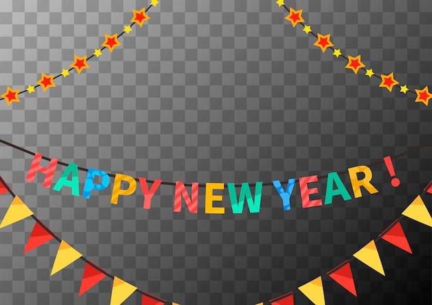 Ghirlande di felice anno nuovo con bandiere e stelle, modello di congratulazioni su trasparente
