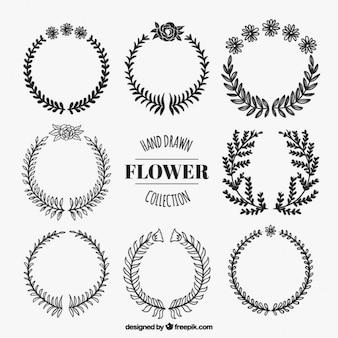 Ghirlande di fiori neri disegnati a mano