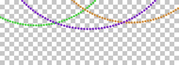 Ghirlande di stringa con palline, isolate su trasparente. illustrazione