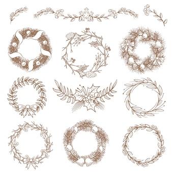 Ghirlande disegnate a mano di natale, cornici di confine con elementi di disegno di doodle di vettore di ramo di abete. illustrazione della corona di cornice di natale