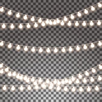 Ghirlande incandescente insieme isolato su sfondo trasparente.