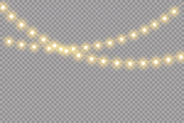 Ghirlande isolate, realistiche delle luci di natale