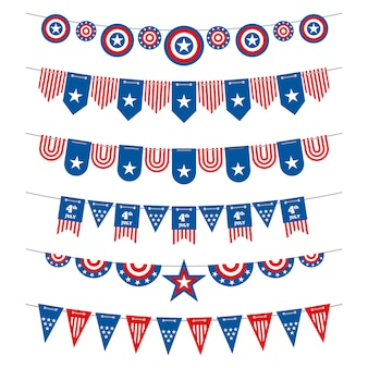 Ghirlande patriottiche di bandiere americane della stamina per la festa dell'indipendenza degli stati uniti il 4 luglio e le elezioni presidenziali.