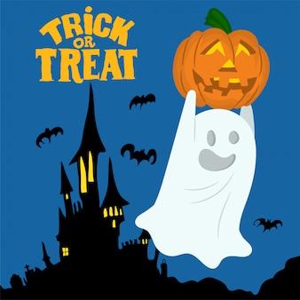 Ghost holding pumpkin