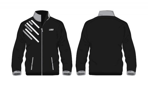 Giacca sportiva camicia grigia e nera per la progettazione su sfondo bianco.