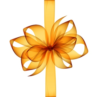 Giallo arancio trasparente fiocco e nastro vista dall'alto close up isolati su sfondo bianco