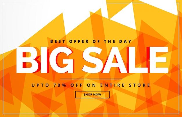 Giallo astratto grande banner di vendita o modello di progettazione voucher