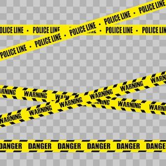 Giallo con linea di polizia nera e nastri di pericolo.