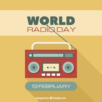 Giallo della radio del mondo di fondo giorno in design piatto