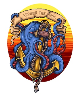 Giant octopus anchor tattoo