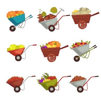 Giardinaggio carriola con raccolta di vettore