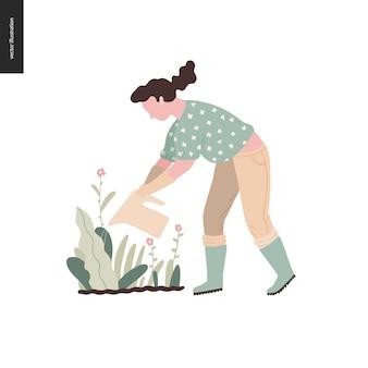 Giardinaggio di estate della donna - illustrazione piana di concetto di vettore di una giovane donna che innaffia una pianta