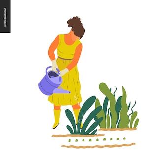 Giardinaggio di estate della gente - illustrazione piana di concetto di vettore di una giovane donna