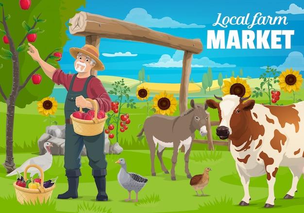 Giardinaggio e allevamento, agricoltore e animali da fattoria