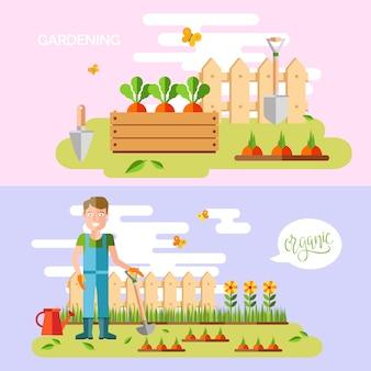 Giardinaggio e orticoltura, attrezzi per hobby, cassette di verdure e piante.