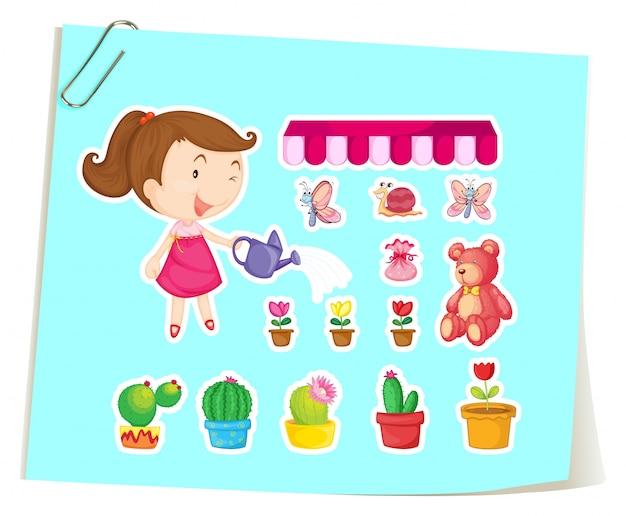 Giardinaggio insieme di ragazza e cactus