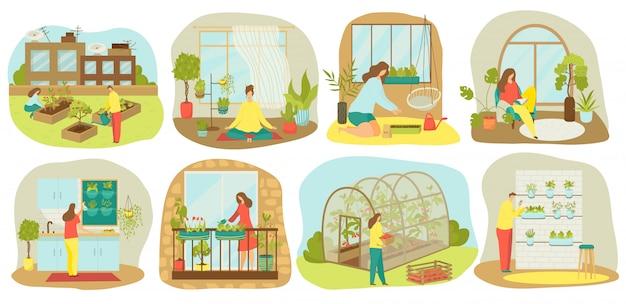 Giardinaggio urbano, piante e ortaggi o agricoltura insieme di illustrazioni. piantare giardino su balcone, in cucina, semenzaio in legno, coltivazione verticale e sul tetto e idroponica, orto urbano.