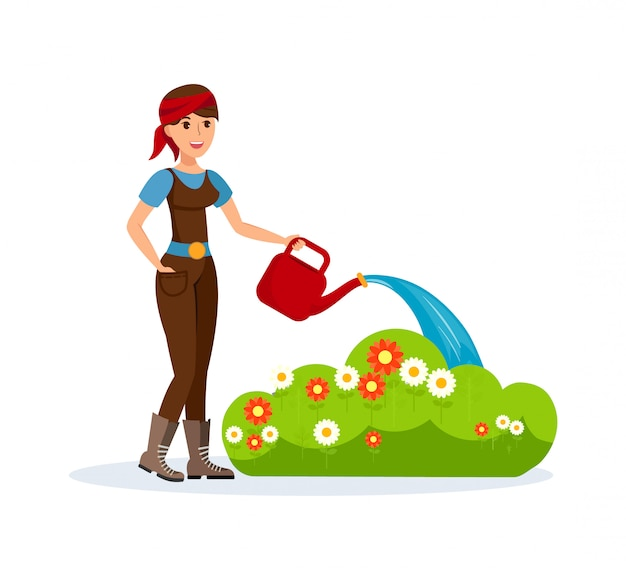 Giardiniere con l'illustrazione di vettore dell'annaffiatoio