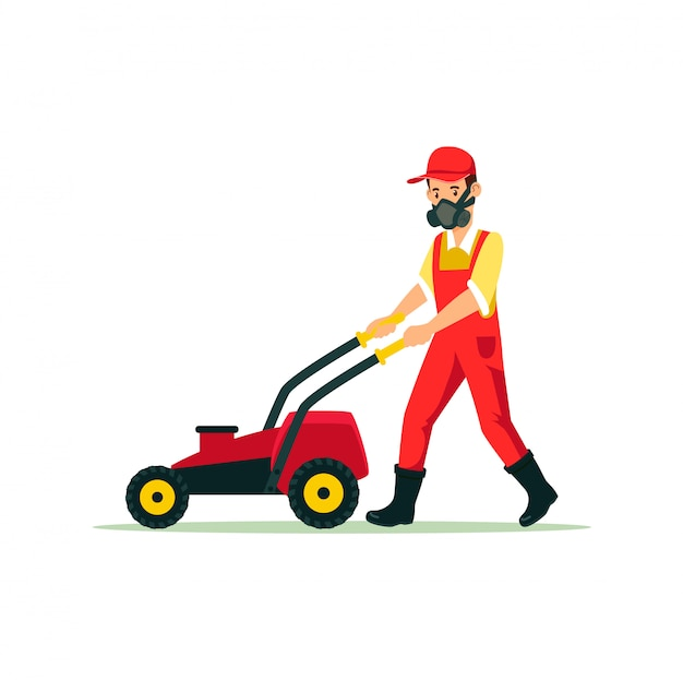 Giardiniere con lawn mower cartoon illustration