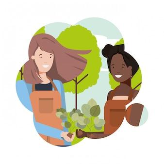 Giardiniere di donne con carattere avatar paesaggio