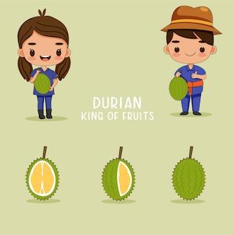 Giardiniere sveglio della ragazza e del ragazzo con la frutta del durian