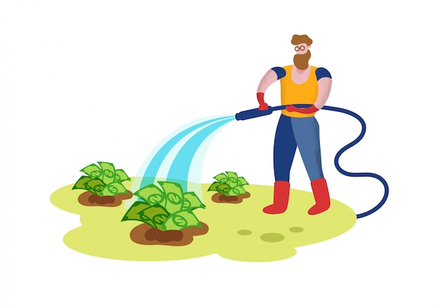 Giardiniere watering garden bed con banconote da un dollaro