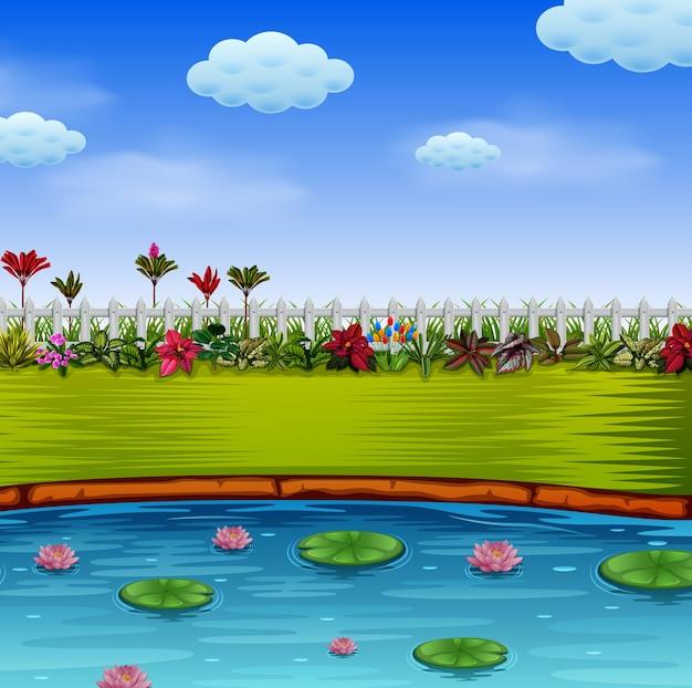 Giardino con il lago blu