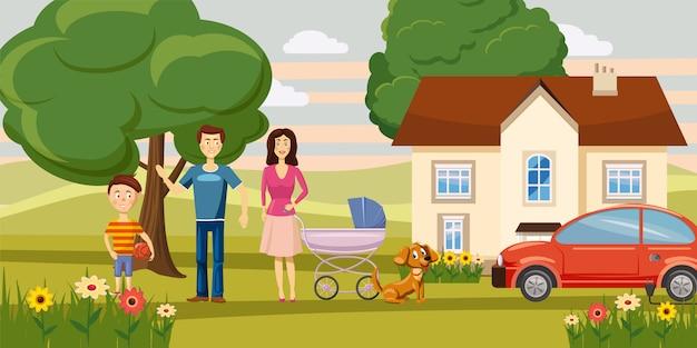 Giardino di concetto orizzontale della famiglia
