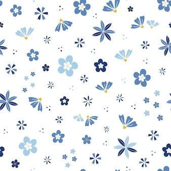Giardino fiorito di fiori blu