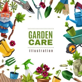 Giardino manutenzione attrezzi colorati accessori attrezzature cornice quadrata con piantine di picche potatori fiori rastrello spruzzatore