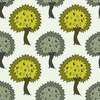 Giardino modello senza saldatura con doodle olivo su sfondo verde. struttura di alberi di ulivi vettoriali