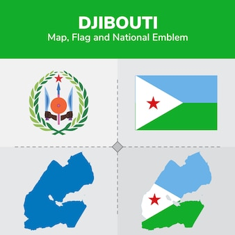 Gibuti mappa, bandiera e emblema nazionale